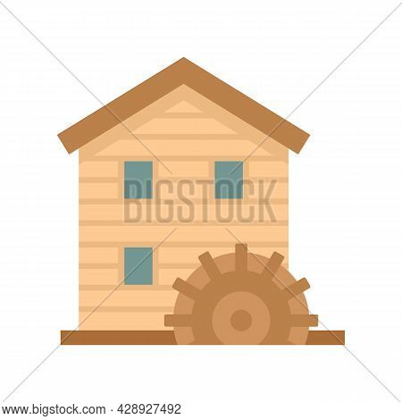 Wooden Water Mill Icon. Flat Illustration Of Wooden Water Mill Vector Icon Isolated On White Backgro
