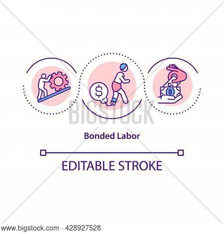 Bonded Labor Concept Icon. Person Exploitation Against Will Abstract Idea Thin Line Illustration. La
