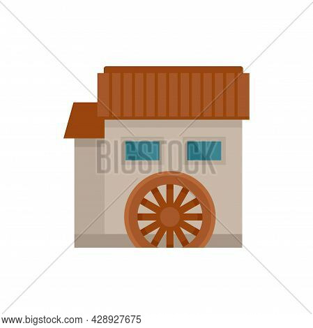Water Mill House Icon. Flat Illustration Of Water Mill House Vector Icon Isolated On White Backgroun
