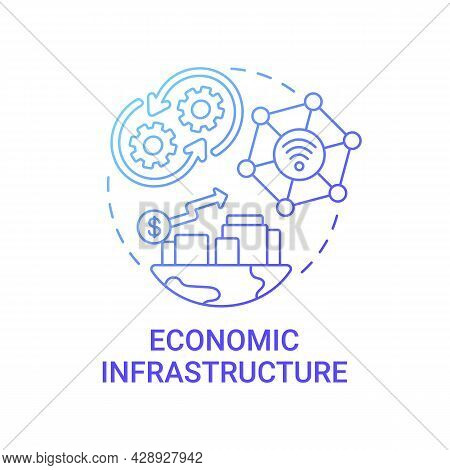 Economic Infrastructure Gradient Blue Concept Icon. Financial Institutions Abstract Idea Thin Line I
