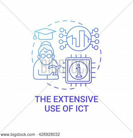 Extensive Use Of Ict Gradient Blue Concept Icon. Ict In Urban Life Abstract Idea Thin Line Illustrat