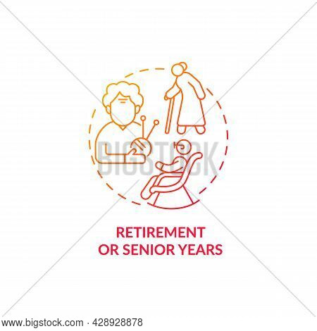Retirement And Senior Years Red Concept Icon. Aging Benefits. Complete Self-realisation. Pensioners