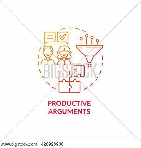 Productive Arguments Red Concept Icon. Common Problem Coping. Couple Development. Respect In Mature