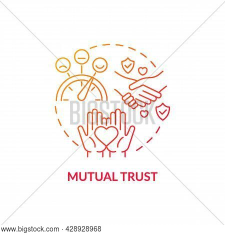 Mutual Trust Red Concept Icon. High Communicative Skill. Intelligence Conversation. Mature Relations