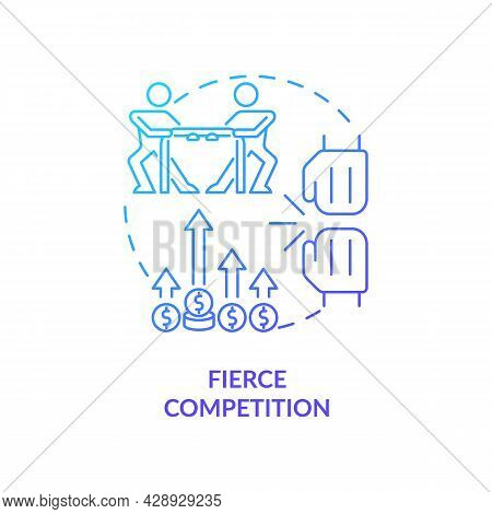 Fierce Competition Blue Gradient Concept Icon. Market Rivalry Between Businesses. Startup Launch Cha