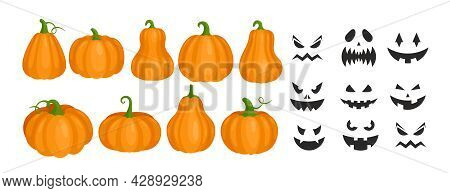 Halloween Pumpkins And Smiling Scary Ghost Faces With Creepy Teeth, Carved Black Faces