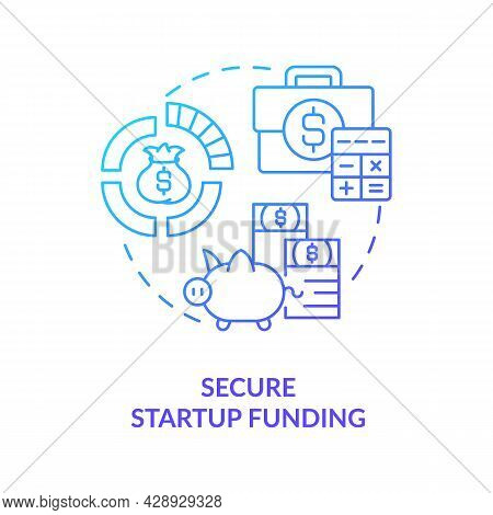 Secure Startup Funding Blue Gradient Concept Icon. Find Investment For New Project. Business Finance