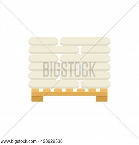 Pallet With Construction Sacks Icon. Flat Illustration Of Pallet With Construction Sacks Vector Icon