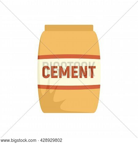 Cement Sack Icon. Flat Illustration Of Cement Sack Vector Icon Isolated On White Background