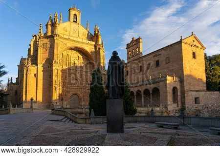 San Esteban Convent Of Salamanca (world Heritage Site By Unesco) At Sunset In The Old Town, Castilla