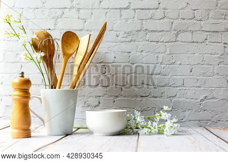 Kitchen Tools And Kitchenware Utensil Object With Ingredients On Kitchen Shelf Wood White For Health