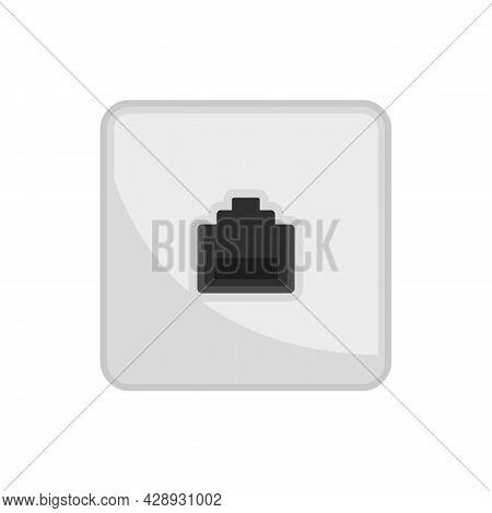 Lan Port Wall Socket Icon. Flat Illustration Of Lan Port Wall Socket Vector Icon Isolated On White B