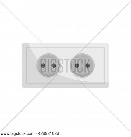 Double Power Socket Icon. Flat Illustration Of Double Power Socket Vector Icon Isolated On White Bac