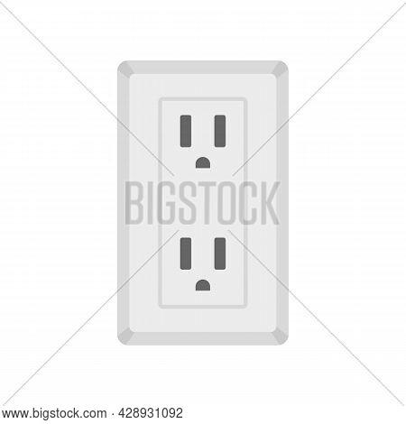 Double Type B Power Socket Icon. Flat Illustration Of Double Type B Power Socket Vector Icon Isolate