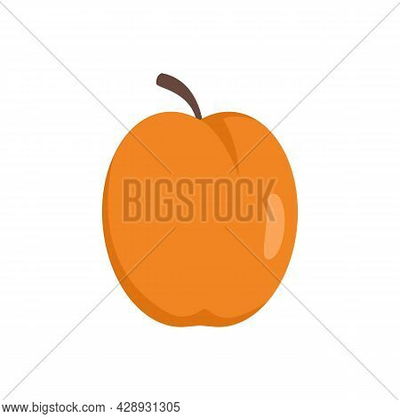 Organic Peach Icon. Flat Illustration Of Organic Peach Vector Icon Isolated On White Background