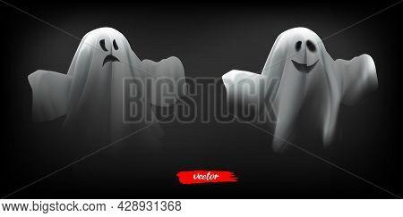 White Ghost, Phantom Isolated On Black Background. Halloween Spooky Monster, Scary Spirit Or Polterg