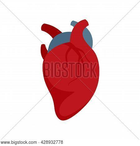 Body Human Heart Icon. Flat Illustration Of Body Human Heart Vector Icon Isolated On White Backgroun