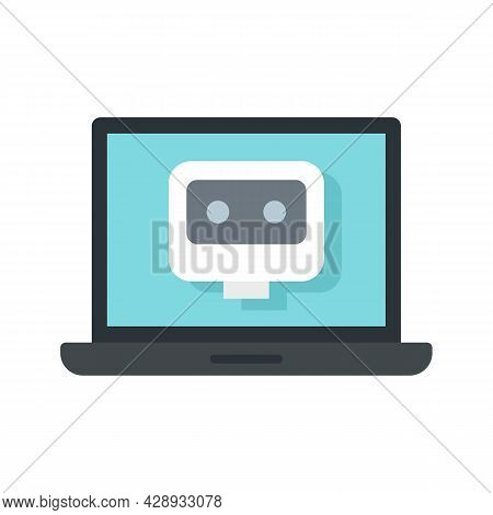 Laptop Chatbot Icon. Flat Illustration Of Laptop Chatbot Vector Icon Isolated On White Background