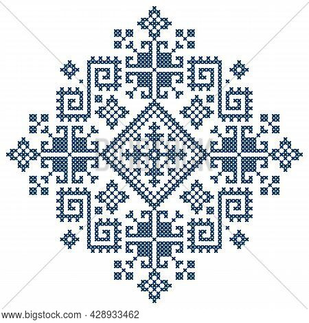 Traditional Cross-stitch Vector Pattern - Styled As The Folk Art Zmijanje Embroidery Designs From Bo