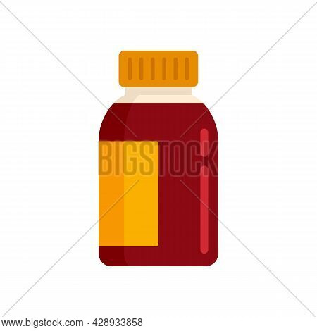 Liquid Cough Syrup Icon. Flat Illustration Of Liquid Cough Syrup Vector Icon Isolated On White Backg