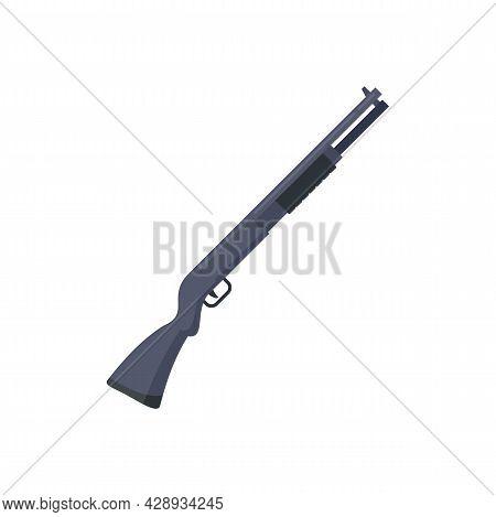 Police Shotgun Icon. Flat Illustration Of Police Shotgun Vector Icon Isolated On White Background