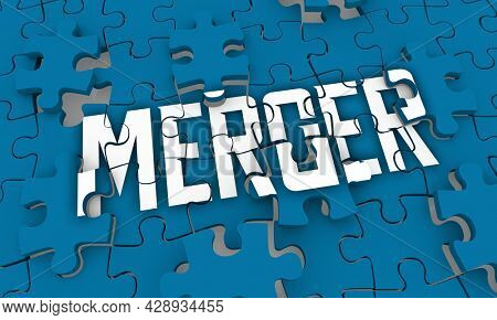 Merger Puzzle Pieces Merge Companies Business Together One Organization 3d Illustration