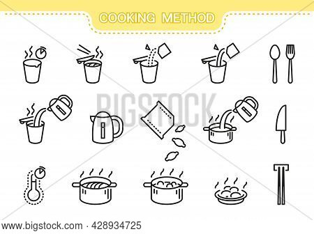 Food Vector Icon Set. Cooking Method Line Collection: Cooking Noodles, Cooking Dumplings, Mug, Sauce