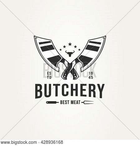 Vintage Butchery Shop With Crossed Cleaver Knives, Bull Head, And Fork Badge Logo Template Vector Il