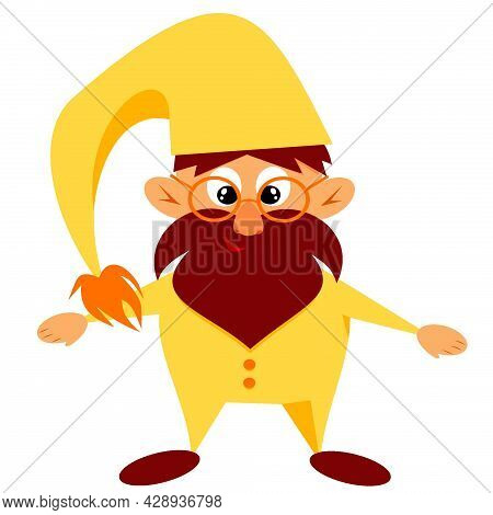 Illustration Of A Cute Cartoon Gnome. The Gnome Is Standing And Smiling In A Yellow Suit With A Cap.