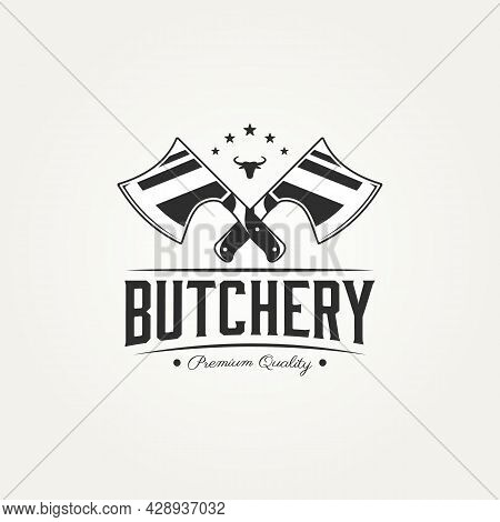 Butchery Shop Logotype With Crossed Axes And Bull Head Badge Logo Template Vector Illustration Desig