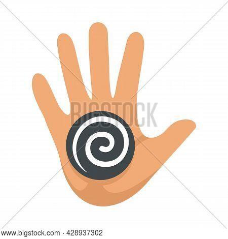 Hand Spiral Hypnosis Icon. Flat Illustration Of Hand Spiral Hypnosis Vector Icon Isolated On White B