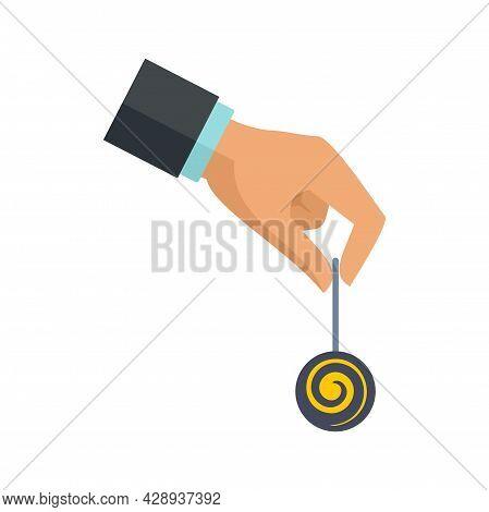 Hypnosis Pendulum Icon. Flat Illustration Of Hypnosis Pendulum Vector Icon Isolated On White Backgro