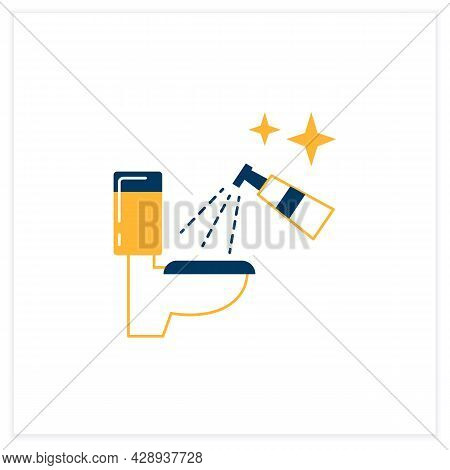 Toilet Disinfection Flat Icon. Restroom Antibacterial Spray Cleaning Linear Pictogram. Hygiene And C