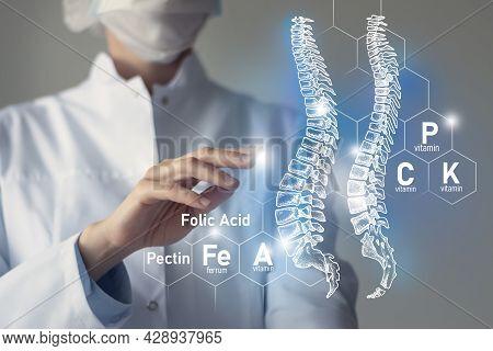 Essential Nutrients For Spine Health Including Magnesium, Vitamin B12, Calcium, Ferrum.blurred Portr
