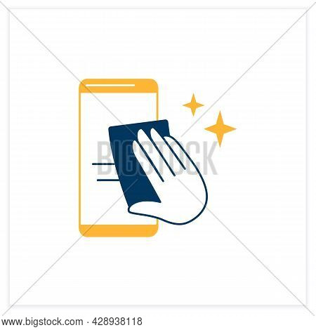Smartphone Disinfection Flat Icon. Wiping Mobile Phone Display With Cleaning Cloth Linear Pictogram.
