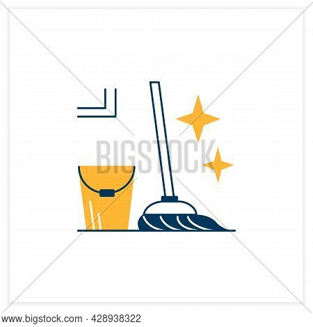 Mopping Flat Icon. Bucket And Mop Sparkling With Tidiness Linear Pictogram. Concept Of Floor Cleanin
