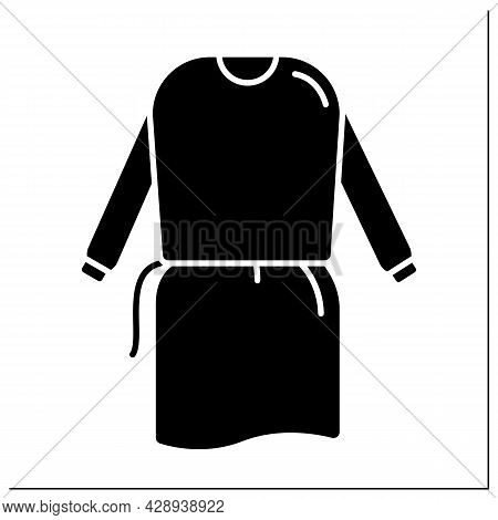 Isolation Gown Glyph Icon. Personal Protective Equipment. Special Equipment For Surgeons. Medical Pp