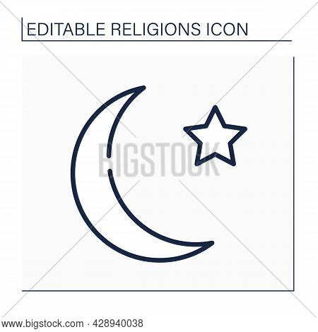 Islam Line Icon. Abrahamic Monotheistic Religion Teached By Muhammad. Crescent And Star Muslim Symbo