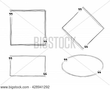 Collection Of Handdrawn Outlined Shapes With Quotation Marks For Quotation Or Message, Vector Illust