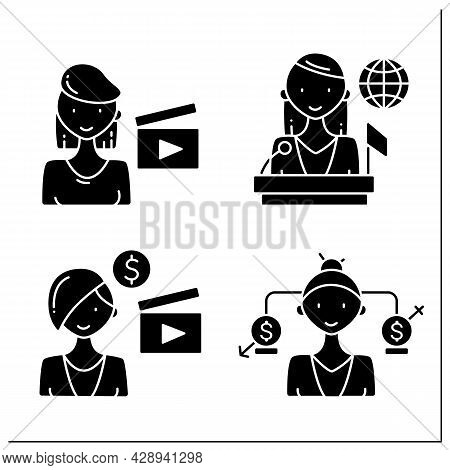Woman Glyph Icons Set. Equal Rights, Politician, Film Director, Producer. Successful Woman Concept.f