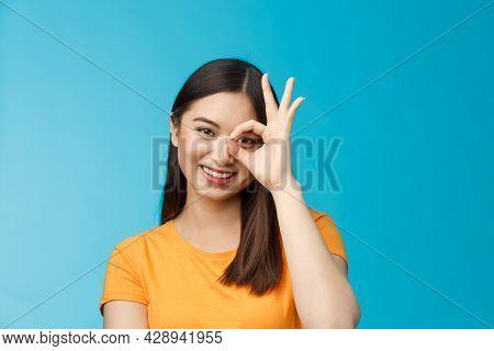 Close-up Cute Dreamy Tender Asian Woman Dark Short Haircut Show Okay Ok Sign Look Through Circle Smi