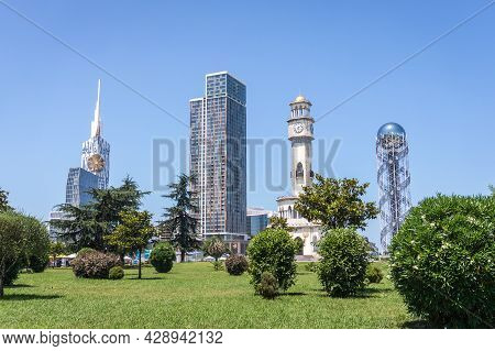 Batumi, Georgia - July 2, 2021: Porta Batumi, The Georgian Alphabet, Chacha And Technological Univer