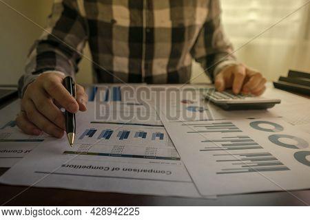 Close Up, Businessman Working Calculate Graph Chart Report Marketing Research Development Planning M