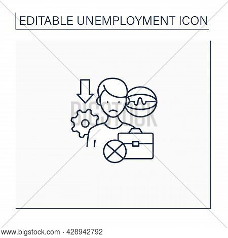 Technological Unemployment Line Icon. Lost Job Caused By Technological Change, Robotizing.staff Redu