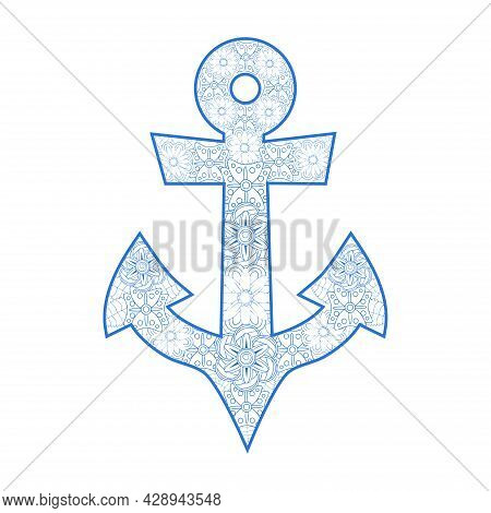 Hand Drawn Illustration Of Romantic Sea Anchor Entwined With Rose Flowers