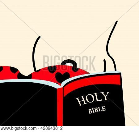 Illustration Of A Sensual Woman Reading The Bible And One Of Her Breast Being Visible
