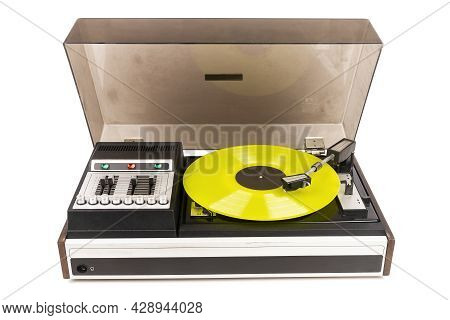 Vintage Turntable Record Player With Yellow Vinyl Isolated On White Background.
