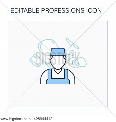 Butcher Line Icon. Man Works With Meat. Slaughter Animals, Dress Flesh, Sell Meat. Important Job. Sp