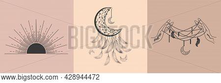 Set Of Magic Symbols, Witch Tattoos. Black Linear Sketch, Boho Design, Modern Vector Illustration