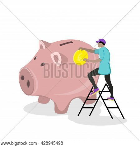 Big Piggy Bank With  Golden Coin. Financial Services, Small Man, Save Or Save Money,or Open Bank Dep